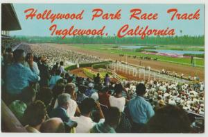 CA Inglewood California horse racing track Hollywood Park 1958 Postcard