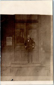 postcard rppc Man outside Sheriff's Office - Proclamation Elections Nov. 3, 1908