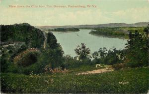 Parkersburg West Virginia~Fort Boreman~View Down the Ohio River~1910 Postcard