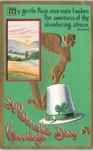 ST PATRICK'S DAY    Greeting    HARP, HAT  Country Scene   1936    Postcard