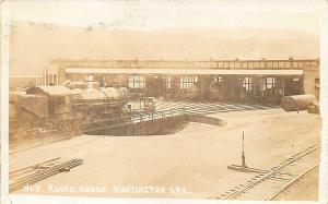 Huntington OR #7 Round House Railroad Trains RPPC Postcard