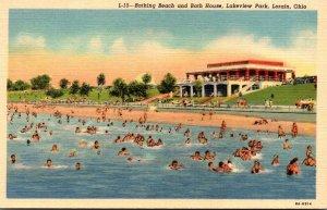 Ohio Lorain Lakeview Park Bathing Beach and Bath House Curteich