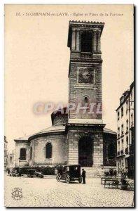 Saint Germain en Laye Old Postcard Church and Parish Square
