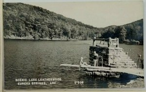 1940s Lake Leatherwood Eureka Springs AR RPPC Postcard Women Diving Board Swim