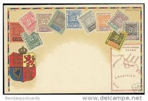 british guyana guiana, STAMP Postcard, Coat of Arms, Map (1910s)