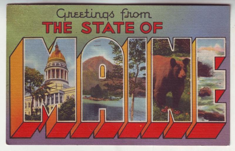 P186 JLs 1958 postcard lg letter greetings from maine