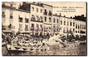 Old Postcard The Sea jousting Cettoises Good spear