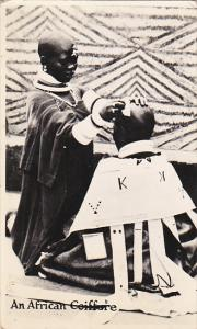 Barber Shop An African Coiffere Real Photo