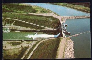 Saskatchewan Aerial View SQUAW RAPIDS Hydro Dam - Chrome 1950s-1970s