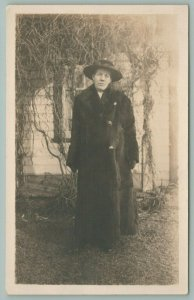 RPPC Norah w/Ribboned Round Hat and Winter Fur Coat~Stands by Grape Vine~c1910