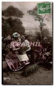 Fantasy - Couple - A Little Flirt Old Postcard
