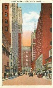 Akard Street Canyon Dallas Texas Automobiles Kropp 1930s Postcard20-7391