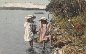 Lake Mills Wisconsin~Victorian Girls Wade in Clear Water~Rock Lake Shore~1910 PC
