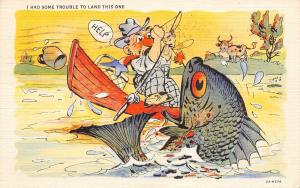 Pueblo CO Cancel~Trouble Landing This Exaggerated Fish~It Isn't Pretty 1936 As I