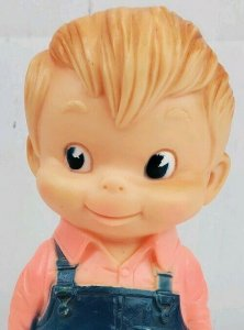 1968 J.L. Prescott Little Blonde Carpenter Rubber Squeak Toy Works Bib Overalls