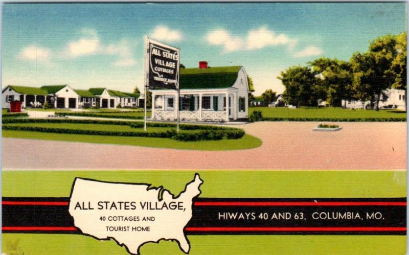 COLUMBIA, Missouri  MO    Roadside  ALL STATES VILLAGE  c1940s Linen  Postcard