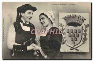 Old Postcard Folklore Costumes of Morbihan The married Marriage