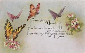 Friendship's Greeting With Butterfly 1915