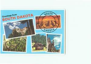 Vintage Postcard Mt Rushmore Greetings  Memo National Park South Dakota  # 3098