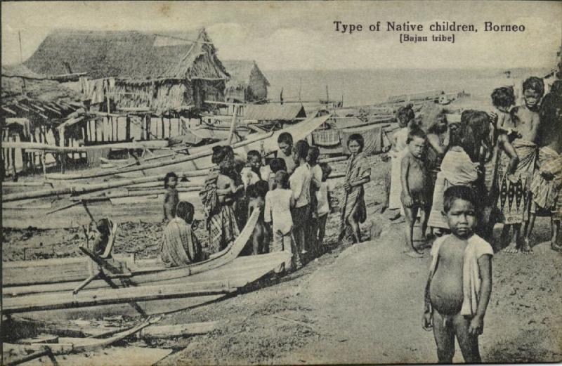 british north borneo, SABAH, Native Children of Bajau Tribe (1910s)