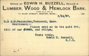Boston to Townsend MAAD Fessenden E Buzzell Lumber Wood 1897 Postal Card