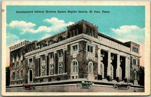 1930s El Paso, Texas Postcard Contemplated Calvary Houston Square Baptist Church