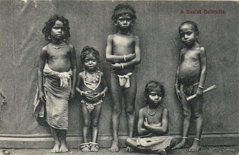 PC CPA CEYLON - SRI LANKA, A QUAINT QUINTETTE, Vintage Postcard (b20028)