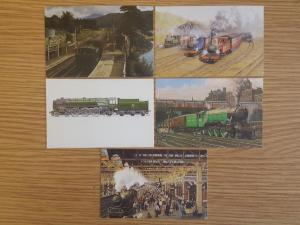Rare Set of 5 Miniature Art Postcards TRAINS 85x55mm GWR Flying Scotsman BR