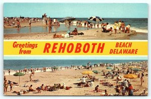 Postcard DE Rehoboth Beach Dual View Greetings from Rehoboth