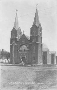 Jackson Minnesota~Catholic Church~Broken Telephone Pole~Dirt Road~1909 RPPC