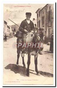 The Pyrenees Old Postcard type pyreneen peasant (ass donkey) TOP