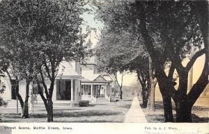 Battle Creek Iowa~Residential Street Scene~Homes Along Sidewalk~1911 Postcard
