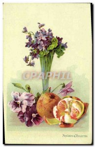 Old Postcard Fantasy Flowers and violets Thoughts