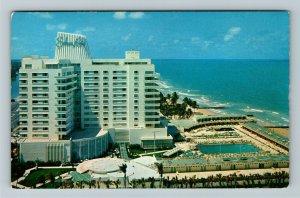 Miami Beach FL- Florida, Eden Roc Hotel, Aerial, Yacht Club, Chrome Postcard
