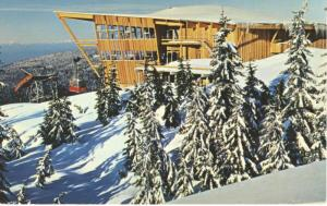 Top Of Grouse Mountain North Vancouver BC Skyride Chalet Vintage Postcard D3