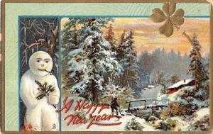 Happy New Year Snow Man With Pipe And Snow Scene Tuck Antique Postcard V13522