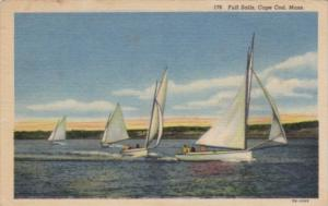 Massachusetts Cape Cod Full Sails 1956 Curteich