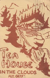 Tea House In The Clouds Canadian Rockies 1961 Map Fold Open Card