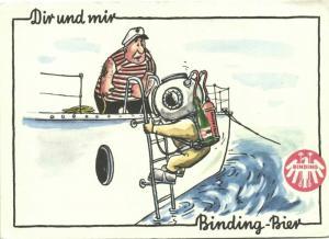 Caricature SCUBA Helmet Diver with Binding Beer (1960s)