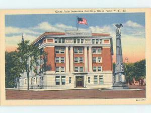 Linen BUILDING SCENE Glens Falls - Lake George New York NY AE8548