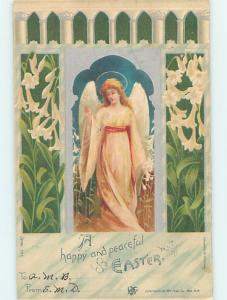 Pre-1907 BEAUTIFUL ANGEL AND EASTER LILY FLOWERS IN CHURCH WINDOW HL0863