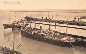 B23/ Galveston Texas Tx Postcard c1910 Wharves Ships Docks Boats