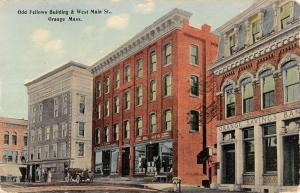 Orange Massachusetts Odd Fellows Building Main Street Antique Postcard K13288