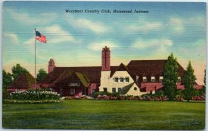 Hammond, Indiana Postcard Woodmar Country Club Clubhouse Golf Course Linen