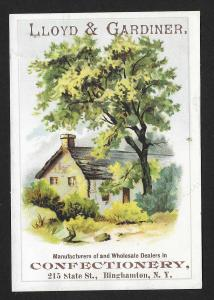 VICTORIAN TRADE CARD Lloyd & Gardiner Confectionery House & Trees