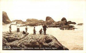RPPC Famous Fishing Rocks Near Long Beach, WA c1940s Vintage Photo Postcard