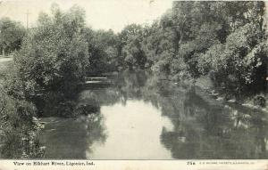 Ligonier Indiana~ Elkhart River~Road Along Side~CU Williams Photoette~1909