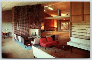 Durham Univ of New Hampshire~Union Lounge~Fireplace~Announcement Board~1950s