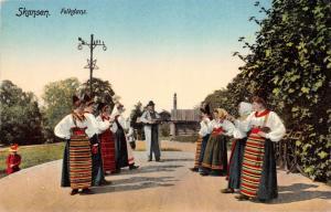 SKANSEN STOCKHOLM SWEDEN FOLKDANS FOLK DANCERS POSTCARD c1910s