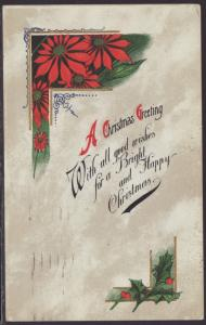 A Christmas Greeting,Holly,Poinsettia